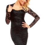Společenské šaty MAYAADI krajkové s dlouhým rukávem středně dlouhé černé – Černá / S – MAYAADI