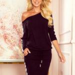 Černé sportovní dámské šaty s kapsičkami a lampasy 13-124