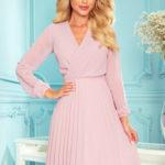 ISABELLE – Dámské plisované šaty v pudrově růžové barvě s dekoltem a dlouhými rukávy 313-4
