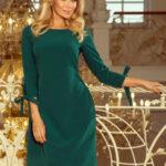 Dámské šaty ALICE s 3/4 rukávem a mašlí zelené středně dlouhé – Zelená – Numoco