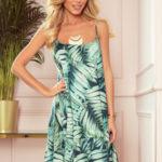BEATRICE – Volné dámské šaty na ramínkách se vzorem zelených listů 302-1