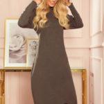 HARPER – Dámské midi šaty v khaki barvě s kapucí 333-2
