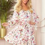 ZOE – Vzdušné dámské šifonové šaty s dekoltem, barevné květy na světlém pozadí 305-1
