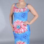 Dámské šaty pro plnoštíhlé na ramínka květinový vzor – Modrá / 42 – Efect