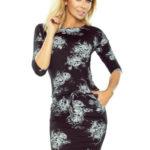 Dámské sportovní šaty s kapsami a s potiskem květin černé – Černá / XS – Numoco