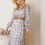Béžové květinové šaty s volánkem