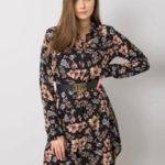 RUE PARISA Černé šaty s květinovými vzory