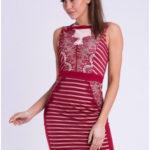 EMAMODA dámské krátké společenské šaty bordó – Bordó / S – EMAMODA