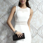 Dámské společenské a párty šaty MESH se síťovinou bílé – Bílá / M – OEM