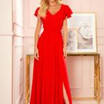 LIDIA – Dlouhé červené dámské šaty s volánky a dekoltem 310-2