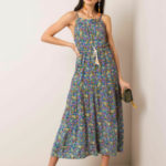 RUE PARIS Modré květinové šaty