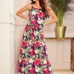 Dlouhé dámské letní šaty na ramínkách se vzorem červených květů 294-1
