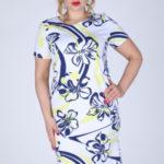 Dámské šaty i pro plnoštíhlé s květinovým vzorem modro-žluté – Žlutá – Efect