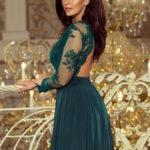 Exkluzivní dámské šaty s výšivkami a dlouhým rukávem dlouhé zelené – Zelená – Numoco