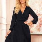 ISABELLE – Černé dámské plisované šaty s dekoltem a dlouhými rukávy 313-7