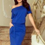 Dámské šaty na denní nošení modré s kapsami na zavazování – Modrá / XXL – Numoco