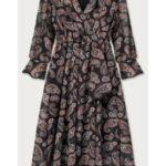 Černé vzorované přeložené obálkové šaty (673/3ART)