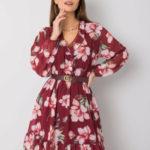 OCH BELLA Vínové šaty s květinovým potiskem