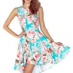 Dámské šaty na denní nošení bez rukávů s asymetrickou sukní s květy modré – Květovaná / M – Numoco