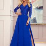 AMBER – Elegantní dlouhé krajkové dámské šaty v chrpové barvě s dekoltem 309-2