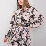 Černé květinové šaty s volánky