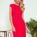 TAMARA – Elegantní červené dámské midi šaty s páskem 301-2