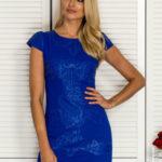 Dámské šaty s ozdobnou koženou kobaltovou nášivkou