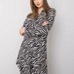 RUE PARIS Černobílé šaty se zvířecím motivem