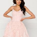 Společenské dámské šaty na ramínka krajkové s kolovou sukní růžové – Růžová / L – Sherri