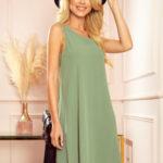 VICTORIA – dámské trapézové šaty v olivové barvě 296-6