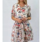 Bílé dámské šifonové šaty s volánky (352ART)