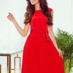 LILA – Červené dámské plisované šaty s krátkými rukávy 311-1 LILA