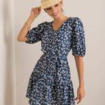 Dámské tmavě modré květinové šaty