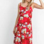 Červené letní šaty s květinami