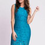 Dámské krajkové šaty EMAMODA modré – Modrá / S – EMAMODA