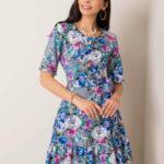 Šedé květinové šaty