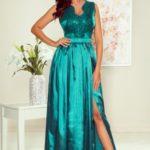 SALLY – Dlouhé zelené dámské šaty s vyšívaným dekoltem 256-1