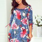 SOPHIE – Pohodlné dámské oversize šaty s květinovým vzorem na džínovině 281-2