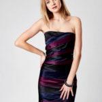 Černé dámské šaty s barevnými moduly
