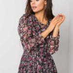 RUE PARIS Černé a růžové květinové šaty