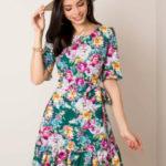 Tmavě zelené květinové šaty