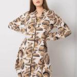 RUE PARIS Béžové šaty s potiskem