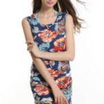 Letní šaty bavlněné jednoduchý střih KATIE s barevným potiskem modré – Modrá / S – LOVER