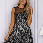 Dámské černé šaty s květinovou krajkou