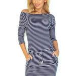 Dámské sportovní šaty netopýří střih na zavazování s kapsami modré pruhované – Barevná / XS – Numoco