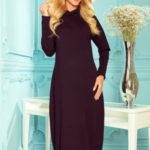 HARPER – Černé dámské midi šaty s kapucí 333-1