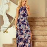 Dámské MAXI šaty bez rukávů s rozparkem s květinovým vzorem modré – Modrá / L – Numoco