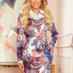 IRENE – Dámské šaty s rolákem a světle modrým orientálním vzorem 282-3