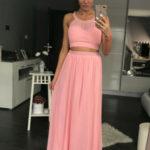 Dámské plesové dlouhé šaty PINK BOOM růžové – Růžová / L – PINK BOOM
