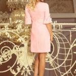 Dámské šaty na denní nošení s volánkovými rukávy růžové – Růžová / S – Numoco
